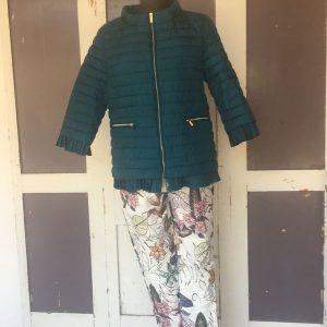 Textil velúr zakó fekete virág mintás Csipke